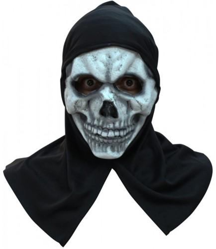 Halloween Masker White Skull Latex met Capuchon