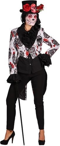 Dames Slipjas Halloween Mexican Skull Black/White-2