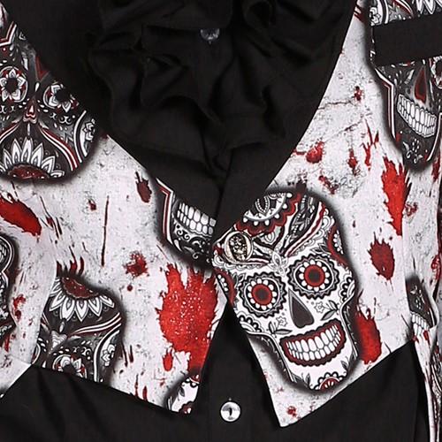 Dames Slipjas Halloween Mexican Skull Black/White-3