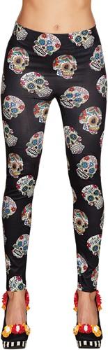 Legging Day of the Dead Zwart met Sugar Skulls -2