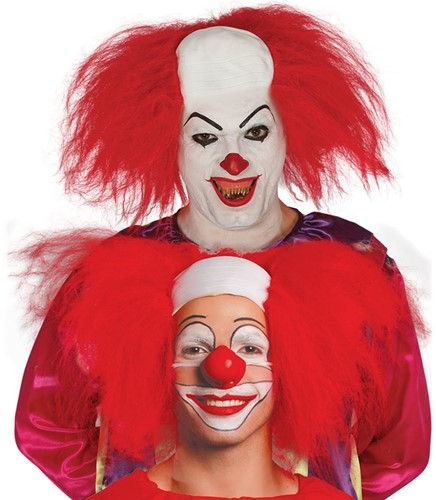 Pruik Killer Clown Rood met Kaalkop (latex)