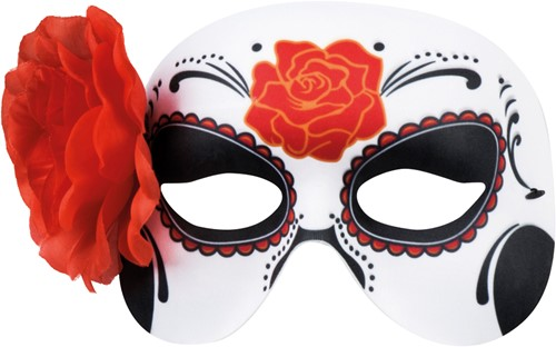 Day of the Dead La Blanca Oogmasker (met Roos)