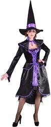 Luxe Heksenjurk Luxe voor dames (Paars-Zwart)