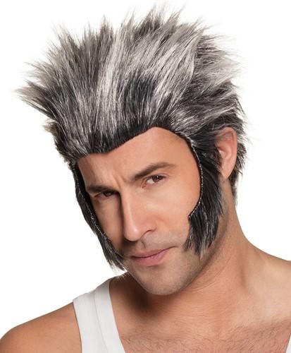Pruik Weerwolf met Bakkebaarden Zwart/Grijs