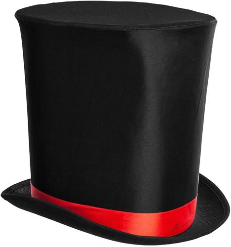 Zwart Extra Hoge Hoed Luxe (met rode band)