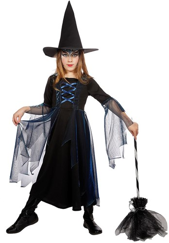 Heksenjurkje voor meisje (Zwart/Blauw, inclusief Heksenhoed)