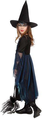 Heksenjurkje Blauw-Zwart met Hoed voor meisjes -2