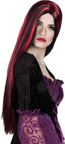 Heksenpruik Zwart/Rood