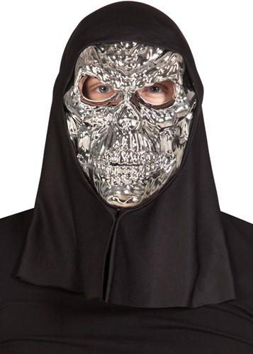 Metallic Zilveren Skull Masker met kap