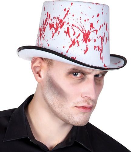 Witte Halloween Hoed met Bloed Splash