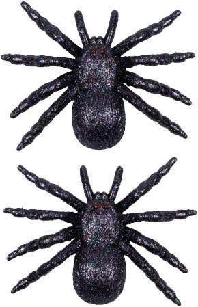 Zwarte Glitter Spinnen (set van 2)