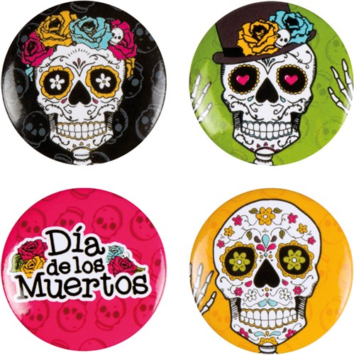 Day of the Dead Buttons (set van 4)