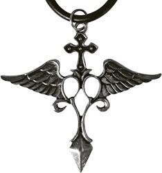 Ketting Gothic Kruis met Vleugels