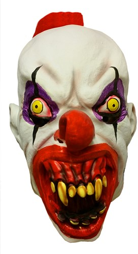 Latex Masker Creepy Clown met Kuifje
