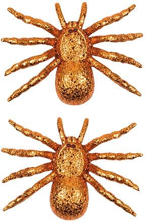 Oranje Glitter Spinnen (set van 2)
