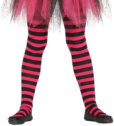 Pink en Zwarte Gestreepte Kinderpanty