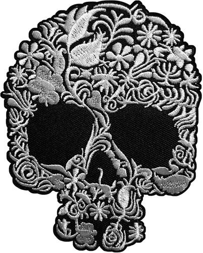 Applicatie Skull Day of the Dead Zwart/Wit (12x8cm)