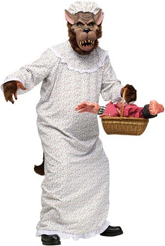 Halloween Kostuum Boze Wolf Oma (2dlg)